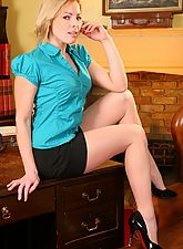stocking babes, Cheeky blonde secretary slips out of her office clothes and gives her boss a treat