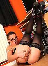 teen stockings, Secretary Lauren in stockings fingering in the office