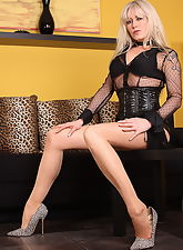 Sexy Alina in high heels, latex and pantyhose