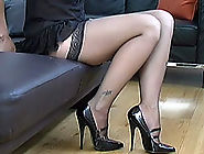 Sexy brunette Jo decided to tease you in so many positions wearing high heels and hold up stockings