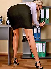 nylon stockings, Blonde secretary Samanta takes down black skirt