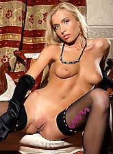 Stunner Kira teases you with her perfect body wearing just her stockings