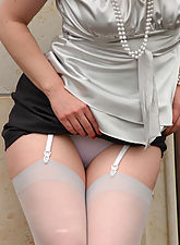 Angel Lovette outdoor in grey Stockings